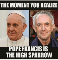 Hbo, Memes, and Pope Francis: THE MOMENT YOU REALIZE  POPE FRANCIS IS  THE HIGHSPARROW GameofThrones HBO