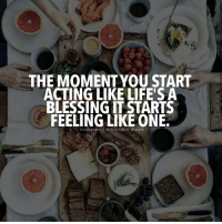 Memes, Acting, and 🤖: THE MOMENT YOU START  ACTING LIKE LIFE'S A  BLESSING IT STARTS  FEELING LIKE ONE.  n stagram millionaire,dre a m Tag a friend below! millionairedream cleverpreneur