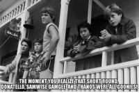 Memes, Thanos, and 🤖: THE MOMENTYOUREALIZE THAT SHORTROUND  DONATELLO SAMWISE GAMGEE AND THANOS WEREALLGOONIES