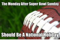 I think evevryone at NFL Memes will agree!: The Monday After Super Bowl Sunday  Should Be A National Holiday I think evevryone at NFL Memes will agree!