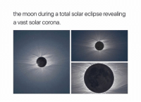 : the moon during a total solar eclipse revealing  a vast solar corona.