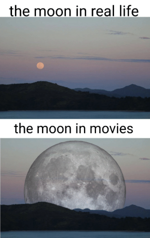 Took me too long to make: the moon in real life  the moon in movies Took me too long to make