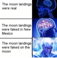Seems Legit: The moon landings  were real  The moon landings  were faked in New  Mexico  The moon landings  were faked on the  moon Seems Legit