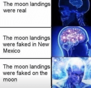 AWOKE my çømrads: The moon landings  were real  The moon landings  were faked in New  Mexico  The moon landings  were faked on the  moon AWOKE my çømrads