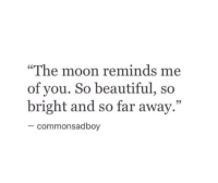 "so far away: ""The moon reminds me  of you. So beautiful, so  bright and so far away.""  05  commonsadboy"