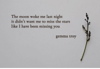 Moon, Stars, and Been: The moon woke me last night  it didn't want me to miss the stars  like I have been missing you  gemma troy