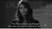 Being Alone, Http, and Net: The more crap you go through,  the more you kind of want to be alone http://iglovequotes.net/
