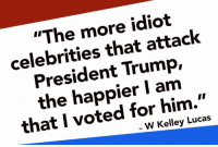 "Money talks. Boycott them all!: ""The more idiot  celebrities that attack  President Trump,  the happier I am  that I voted for him.""  W Kelley Lucas Money talks. Boycott them all!"