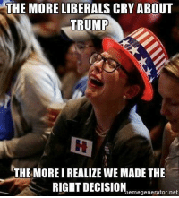 Liberals Crying: THE MORE LIBERALS CRY ABOUT  TRUMP  THE MORE I REALIZE WE MADE THE  RIGHT DECISION  memegenerator net