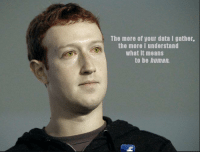 Non Existent Existentialist, Human, and Data: The more of your data l gather.  the more I understand  what it means  to be human. Not Oc (so pls no zucc)