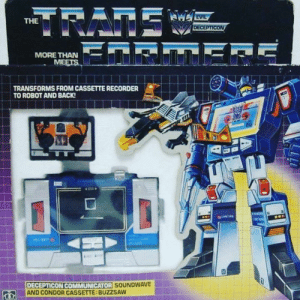 "THE  MORE THAN  TRANSFORMS FROM CASSETTE RECORDER  TO ROBOT AND BACK  COMMUNICATOR  DECEPTICON SO  AND CONDOR CASSETTE:BUZZSAW  SOUNDWAVE Transformers ""Soundwave"""
