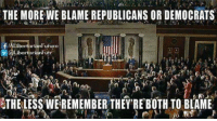 THE MORE WE BLAME REPUBLICANS OR DEMOCRATS  f aria Futuro  @Libertarian Futr  THE LESSWEREMEMBER THEY'REBOTH TO BLAME We are the party of the future.