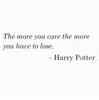 Harry Potter, Potter, and Harry: The more you care the more  you have to lose.  Harry Potter.
