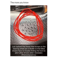the more you know: The more you know  IG: @TAYVONTAE  Just realised that these little bumps on the  steering wheel are in Braille so that blind  drivers have no trouble finding the horn to  alert other drivers when necessary