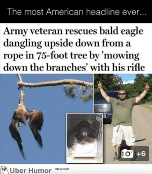 Tumblr, Army, and American: The most American headline ever...  Army veteran rescues bald eagle  dangling upside down from a  rope in 75-foot tree by 'mowing  down the branches' with his rifle  (0 +6  oUber Humor Stevetho failnation:  Most American headline