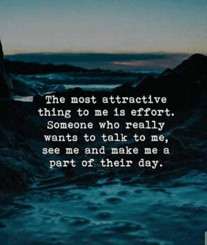 make me a: The most attractive  thing to me is effort.  Someone who really  wants to talk to me,  see me and make me a  part of their day.