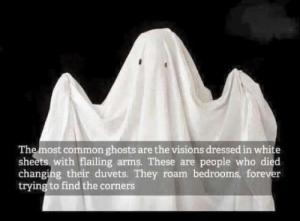 Common, White, and Arms: The most common ghosts are the visions dressed in white  sheets with flailing arms. These are people who died  changing their duvets. They roam bedrooms, forev  trying to find the corners This explains a lot
