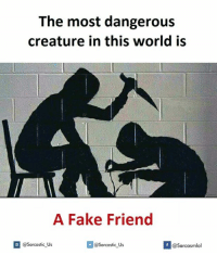 Fakings and  Fake Friend: The most dangerous  creature in this world is  A Fake Friend  @Sarcastic Us  @Sarcastic Us  f  @Sarcasmlol