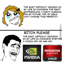 Memes, 🤖, and Amd: THE MOST DIFFICULT DECISON IN  MY LIFE IS CHOOSING THE RIGHT  BOYFRIEND AND A RIGHT HUSBAND  OR MY FUTURE. 99% OF GIRLS  CAN'T CHOOSE THIS PERFECTLY  BITCH PLEASE  THE MOST DIFFICULT DECISION  IN MY LIFE IS CHOOSING WHETHER  A NVIDIA GPU OR AMD GPU  RADEON  GRAPHICS  nVIDIA Men vs Women in making huge decisions in life. www.memecenter.com/fun/3029363/really-difficult-decisions  For the latest Memecenter updates, follow us on twitter at http://twitter.com/MemeCenter