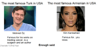 Yay let the butthurt begin! -Charlotte: The most famous Turk in USA The most famous Armenian in USA  Mehmet Oz  Kim Kardashian  Famous for his works on  Famous for...you  treating cancer, is a  know  surgeon and an author  Enough said  Charlotte TURKEYball Yay let the butthurt begin! -Charlotte