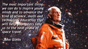 Tumblr, Blog, and Cool: The most important thing.  we can do is inspire young  minds and to advance the  kind of science, math-and'  technology education that  will help youngsters take  us to the next phase of  space travel  ohn Glenn great-quotes:  The most important thing.. -John Glenn [1279x720]MORE COOL QUOTES!
