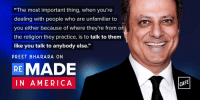 """America, Memes, and Religion: """"The most important thing, when you're  dealing with people who are unfamiliar to  you either because of where they're from or  the religion they practice, is to talk to them  like you talk to anybody else.""""  PREET BHARA RA ON  RE MADE  IN AMERICA  CAFE Listen to the latest episode of Remade In America to hear @Byoussef speak with @PreetBharara, prosecutor turned professor / legal analyst / podcaster as they discuss his immigrant experiences and the values that guide his career: https://t.co/3FH29Z55Vd https://t.co/JjNdAjy8y5"""