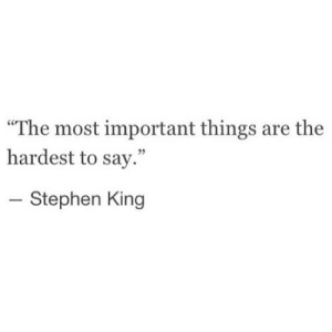 "Stephen, Stephen King, and Net: ""The most important things are the  hardest to say.""  - Stephen King https://iglovequotes.net/"