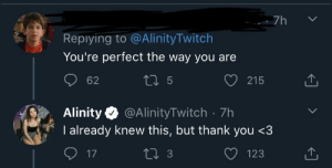 """The most liked reply in response to Alinity tweeting """"you guys knew I was latina, you expected me to have some nice pink nips wtf?????"""": The most liked reply in response to Alinity tweeting """"you guys knew I was latina, you expected me to have some nice pink nips wtf?????"""""""