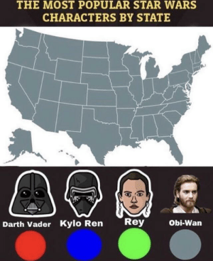 Christianity has taken America by storm.: THE MOST POPULAR STAR WARS  CHARACTERS BY STATE  Rey  Obi-Wan  Darth Vader Kylo Ren Christianity has taken America by storm.