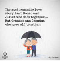 Grandma, Love, and Grandpa: The most romantic love  story isn't Romeo and  Juliet who dies together...  But Grandpa and Grandma  who grew old together.  who dies together..  RELATIONSHIP  RULES  http://rules