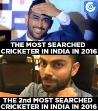 Memes, Cricket, and 🤖: THE MOST SEARCHED  CRICKETER IN INDIA IN 2016  THE 2nd MOST SEARCHED  CRICKETER IN INDIA IN 2016 MS Dhoni beats Virat Kohli to become the most searched cricketer on internet in India in 2016.