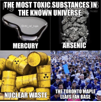 From the years they blamed Kessel for their losses and threw jerseys on the ice during games to the fact that they STILL boo their own players when they're having a bad night, the Leafs fan base is so unbelievably entitled and toxic beyond repair: THE MOST TOXIC SUBSTANCES IN  THE KNOWN UNIVERSE 742  74.922  @nhl _ref logic  MERCURY  ARSENIC  THETORONTO MAPLE  LEAFS FAN BASE From the years they blamed Kessel for their losses and threw jerseys on the ice during games to the fact that they STILL boo their own players when they're having a bad night, the Leafs fan base is so unbelievably entitled and toxic beyond repair