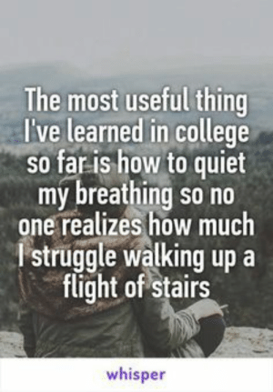 Follow us @studentlifeproblems​: The most useful thing  l've learned in college  so far is how to quiet  my breathing so no  one realizes how much  Istruggle walking up a  flight of stairs  whisper Follow us @studentlifeproblems​