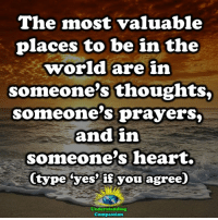 Memes, Heart, and World: The most valuable  places to be in the  world are in  someone's thoughts,  someone's prayers,  and im  someone's heart.  (type (yes' if you agree)  Understanding  Compassion <3