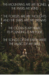 Pantheism: Everything is Connected, Everything is Divine  Facebook Group: www.facebook.com/groups/pantheism Freethinking community: www.pantheism.com: THE MOUNTAINS ARE MY BONES  THE RIVERS MY VEINS  FORESTS ARE MY THOUGHTS  AND THE STARS AREMY DREAMS  THE OCEAN HEART  ITS POUNDING ISAY PULSE  THE SONGS OF THE EARTH WRITE  THE MUSIC OF MY SOUL Pantheism: Everything is Connected, Everything is Divine  Facebook Group: www.facebook.com/groups/pantheism Freethinking community: www.pantheism.com