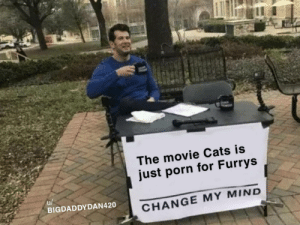 me_irl: The movie Cats is  just porn for Furrys  u/  BIGDADDYDAN420  CHANGE MY MIND me_irl