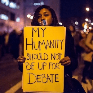 The murder of Black Americans should not be divisive. There should be no question of who is in the right and who is in the wrong. Every Black person in America deserves to live without fear. Every Black person in America deserves to live, period. And if you disagree on any level, then you need to rethink your privilege and biases. Because it's not black people vs. white people. It's everyone vs. racists. Which side do you want to be on? (photo credit unknown) https://www.instagram.com/p/CBa-fh5hnG2/?igshid=12jvtiqp9j0vp: The murder of Black Americans should not be divisive. There should be no question of who is in the right and who is in the wrong. Every Black person in America deserves to live without fear. Every Black person in America deserves to live, period. And if you disagree on any level, then you need to rethink your privilege and biases. Because it's not black people vs. white people. It's everyone vs. racists. Which side do you want to be on? (photo credit unknown) https://www.instagram.com/p/CBa-fh5hnG2/?igshid=12jvtiqp9j0vp