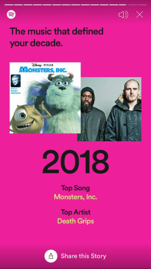 I think we can all agree that last year was pretty good as well: The music that defined  your decade.  ĐisNEp PIXAR  MONSTERS, INC.  RANDY  NEWMAN  2018  Top Song  Monsters, Inc.  Top Artist  Death Grips  O Share this Story I think we can all agree that last year was pretty good as well