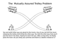 @Mariusz Trela: The Mutually Assured Trolley Problem  You and some other guy are glued to the tracks. Any of you can pull the lever,  releasing the trolley and killing the other guy. You told the other guy that you'll  pull the lever if he does, hoping he won't kill you. After a long time, he finally  pulls the lever. Do you keep your promise and lead to 2 deaths instead of 1? @Mariusz Trela