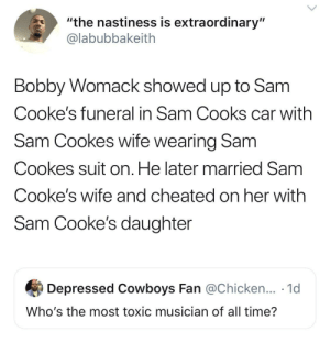 "And this is how Bobby treated his friends: ""the nastiness is extraordinary""  @labubbakeith  Bobby Womack showed up to Sam  Cooke's funeral in Sam Cooks car with  Sam Cookes wife wearing Sam  Cookes suit on. He later married Sam  Cooke's wife and cheated on her with  Sam Cooke's daughter  Depressed Cowboys Fan @Chicken... 1d  Who's the most toxic musician of all time? And this is how Bobby treated his friends"