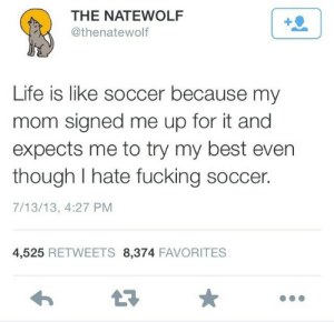 Fucking, Life, and Soccer: THE NATEWOLF  @thenatewolf  1  Life is like soccer because my  mom signed me up for it and  expects me to try my best even  though I hate fucking soccer.  7/13/13, 4:27 PM  4,525 RETWEETS 8,374 FAVORITES