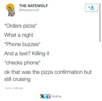cruising: THE NATEWOLF  @thenatewolf  *Orders pizza*  What a night  Phone buzzes*  And a text? Killing it  checks phone  ok that was the pizza confirmation but  still cruising  Source iraffiruse  Postize
