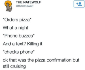 Phone, Pizza, and Text: THE NATEWOLF  @thenatewolf  *Orders pizza*  What a night  *Phone buzzes*  And a text? Killing it  checks phone*  ok that was the pizza confirmation but  still cruising