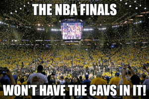 Cavs, Cleveland Cavaliers, and Finals: THE NBA FINALS  WON'T HAVE THE CAVS INIT The Cleveland Cavaliers were officially eliminated from playoff contention yesterday, so that means for the first time in 5 seasons, we're gonna have a different team in the NBA Finals!!!! Will the Warriors still be there? I sure hope so! Who do you think is winning the Eastern Conference this year?