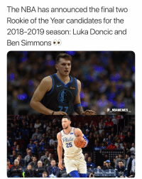 Memes, Nba, and 🤖: The NBA has announced the final two  Rookie of the Year candidates for the  2018-2019 season: Luka Doncic and  Ben Simmons  5  @_ABAMEMEs.一  Phila  25 Well deserved 👀😂 - Follow @_nbamemes._