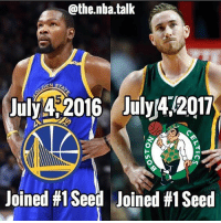 Memes, Nba, and Stuff: @the.nba.talk  Jul 2016 AilY472017  July 4$2016 July42017  Joined #1 Seed  Joined #1 Seed The NBA is taking over all our holidays with this kind of stuff😂🙄 Who do you like more, KD or Hayward? (via @the.nba.talk)
