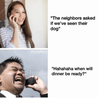 """Meme, Neighbors, and Dank Memes: """"The neighbors asked  if we've seen their  dog""""  drgnayfang  """"Hahahaha when will  OD fotolia  dinner be ready?"""" @champagneemojis is a meme lord"""