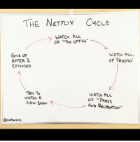 """Friends, Life, and Netflix: THE NETFLIX CucLe  CLE  WATCN ALL  OF THE OFFICE""""  Gue up  AFTER 2  EPISODES  WATCH AL  OF FRIENDS  TRy To  WATH A  New SHow  WATCH ALL  OF """"PARKs  AND RELRGATION""""  amatsurelee Circle of life @mattsurelee"""