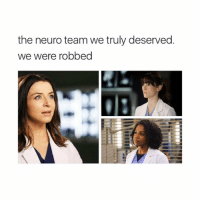 Crying, Memes, and Grey: the neuro team we truly deserved.  we were robbed the 3 neuro attendings: dr. edwards, dr. grey, and dr. shepherd all operating on a rare case, and then, when the operation succeeds and the patient survives, calling it a day and going for a drink at joe's and i'm gonna stop typing cause i don't feel like crying at the moment (derek could be added to the team; but like shonda has killed them all anyway) greysanatomy