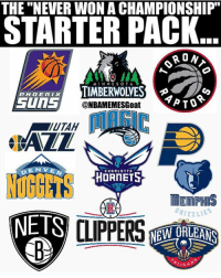 """Memes, 🤖, and Hornets: THE """"NEVER WON A CHAMPIONSHIP  STARTER PACK  RON  MIN NE O T A  TIMBERWOLVES  TATO  Suns  @NBAMEMESGoat  EN VE  CHA A LOTTE  HORNET  GRIZZLIES  NETS  NEW ORLEANS  E LICA When will one of them win one😂🙌😈 @nbamemesgoat 💯"""